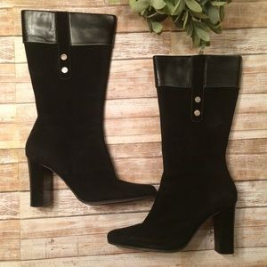 Anne Klein Suede/Black EUC Leather Boots Size 7M